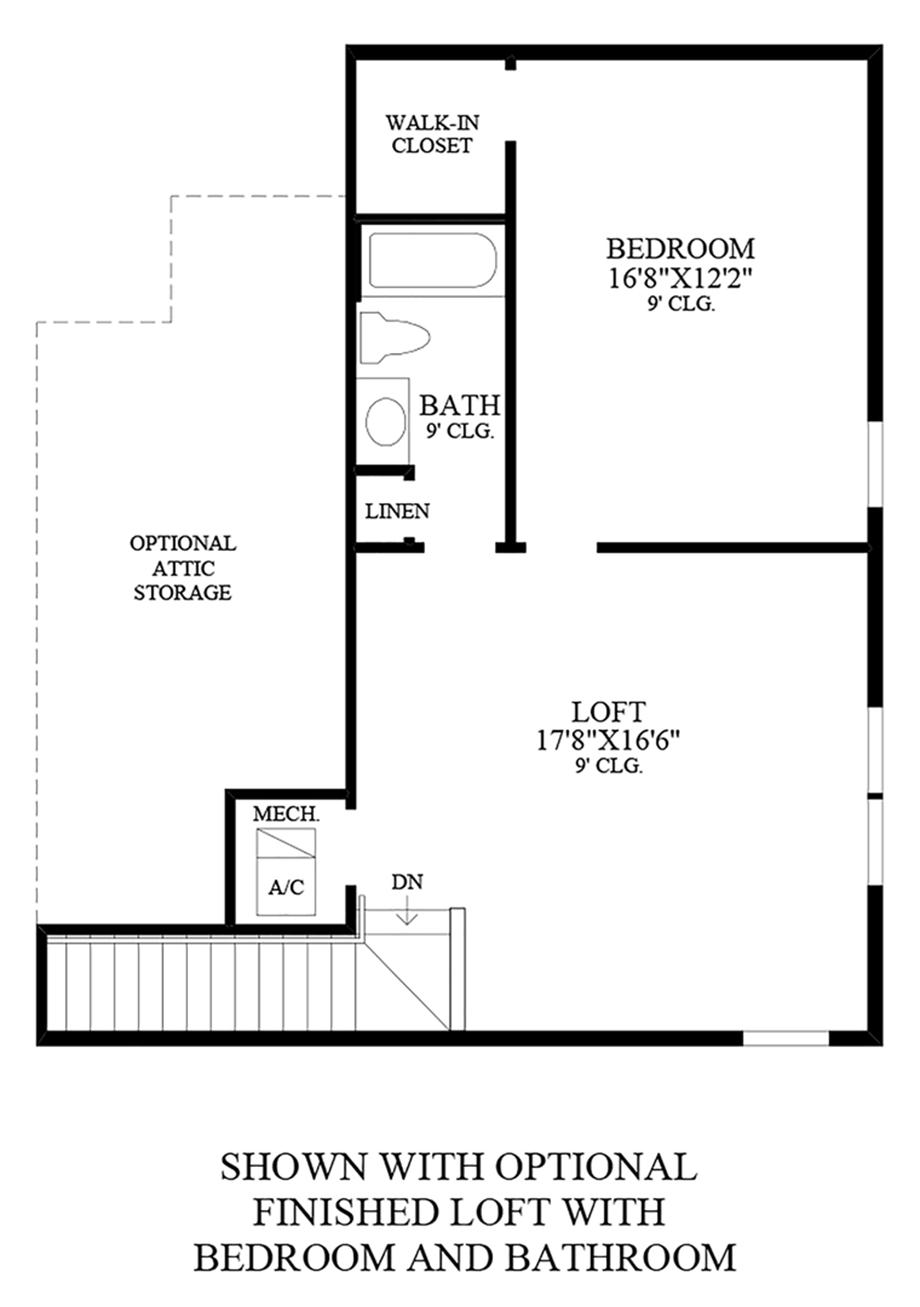 Optional Finished Loft w/ Bedroom & Bathroom Floor Plan