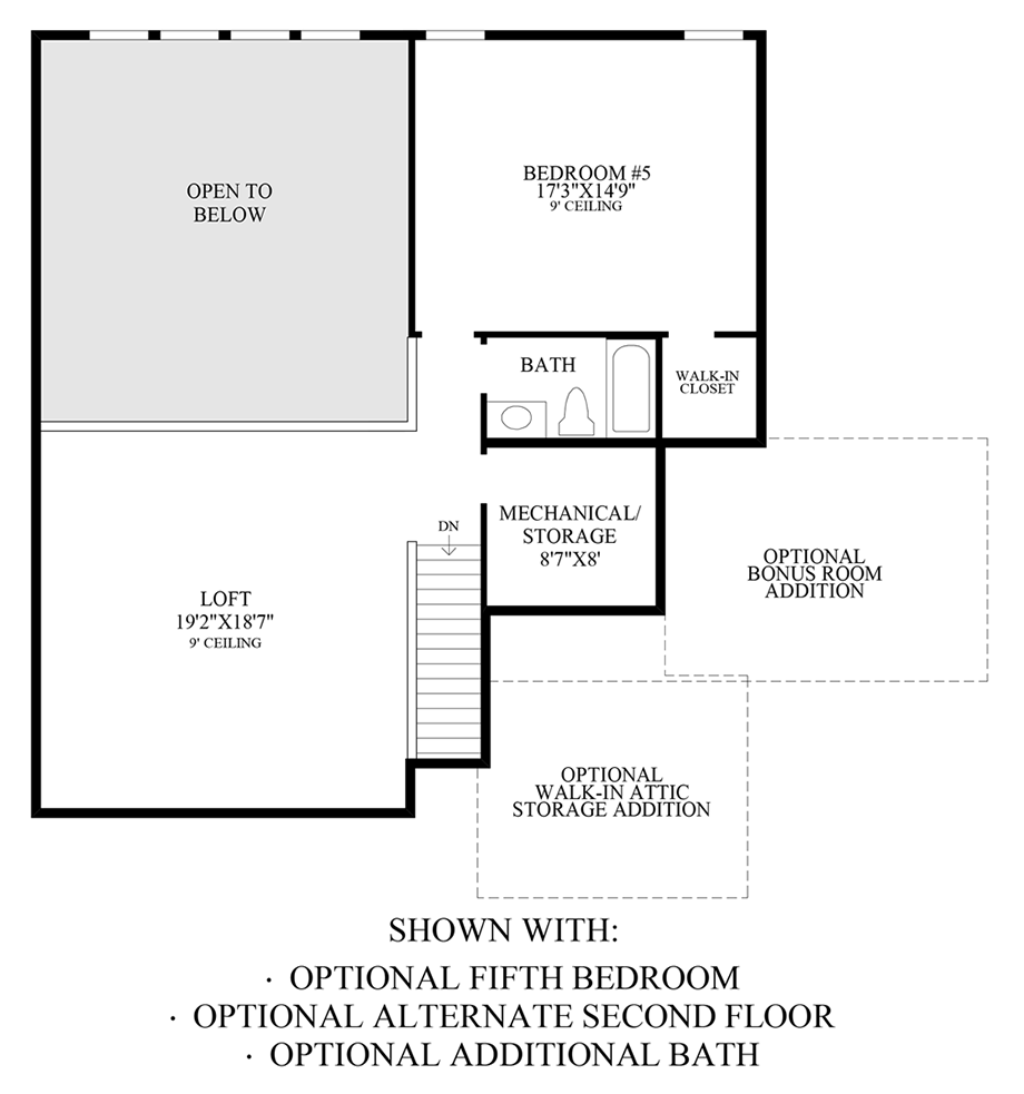 Optional 5th Bedroom, Alternate 2nd Floor & Additional Bath Floor Plan