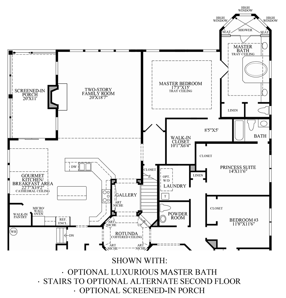 Optional Luxurious Master Bath, Screened-In Porch & Stairs to Optional Alternate 2nd Floor Floor Plan