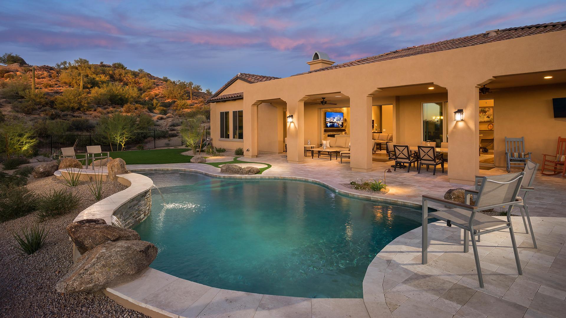 Talon ranch quick delivery home azure desert contemporary for Model home exterior photos