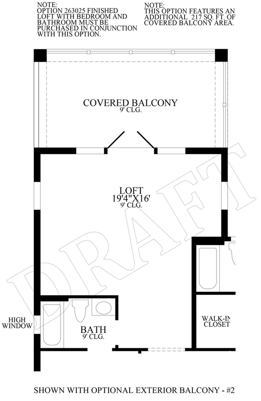 Optional Exterior Balcony Floor Plan