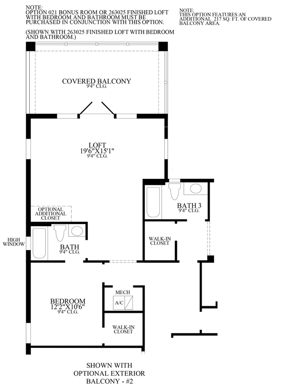 Optional Exterior Balcony Floor Plan