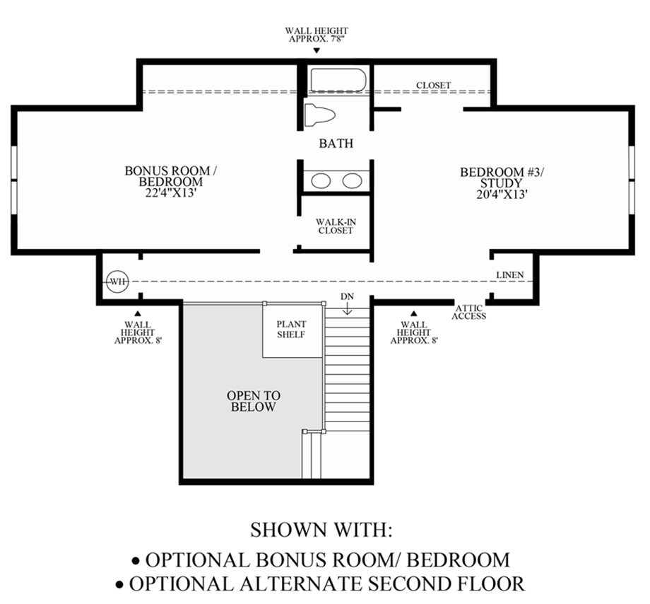 Optional Alternate 2nd Floor & Bonus Room/Bedroom Floor Plan