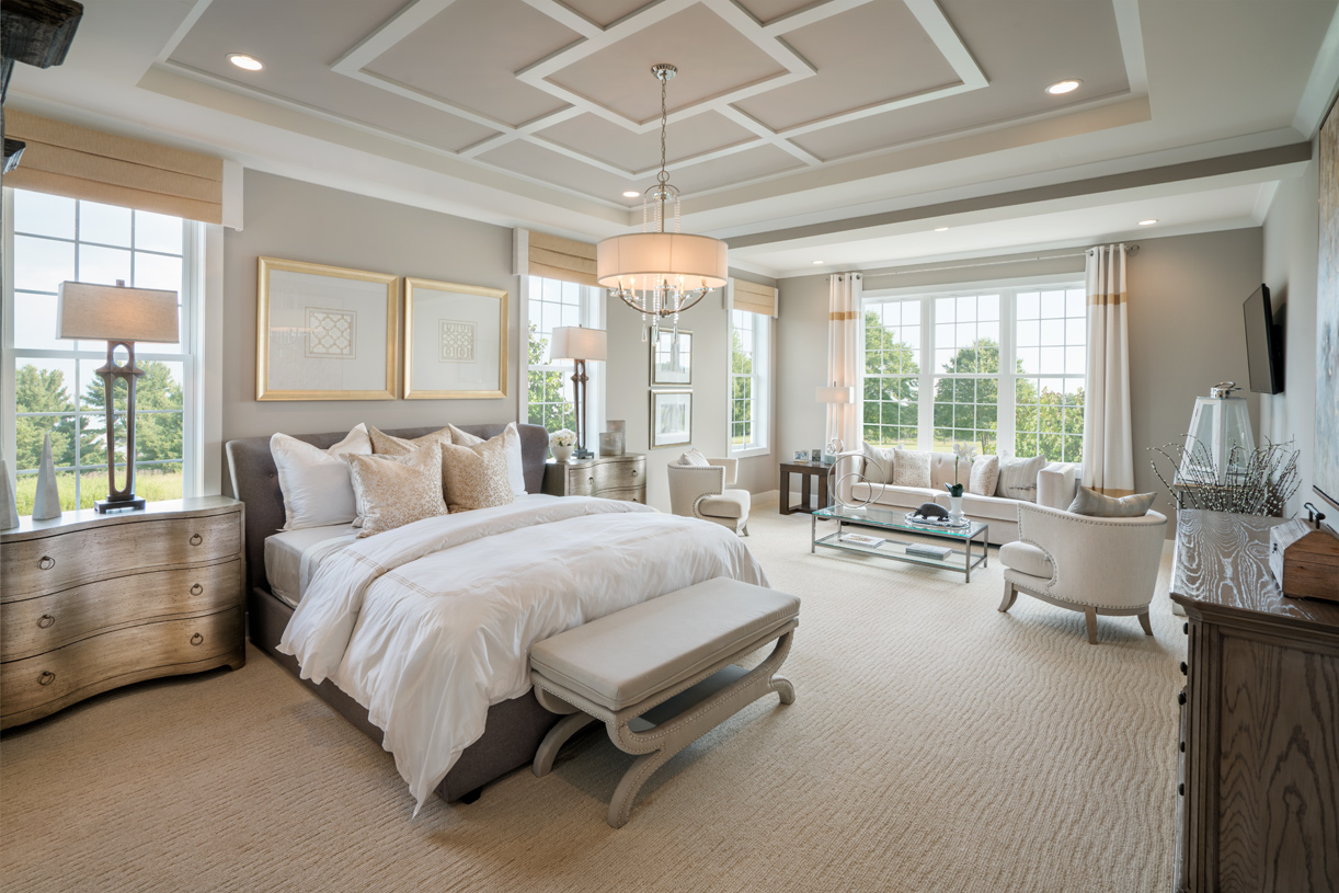 First-floor primary bedroom suite with tray ceiling