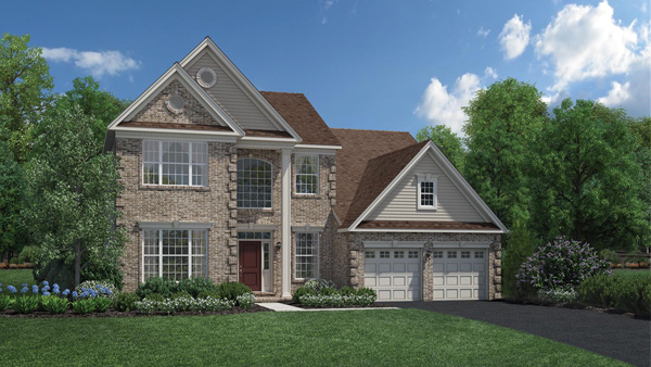 Image of the Baymont home design with white siding and stone finish located in the Regency at Monroe Community