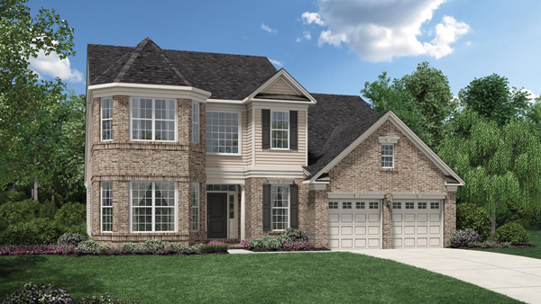 Image of the Baymont home design with tan siding and tan brick finish located in the Regency at Monroe Community