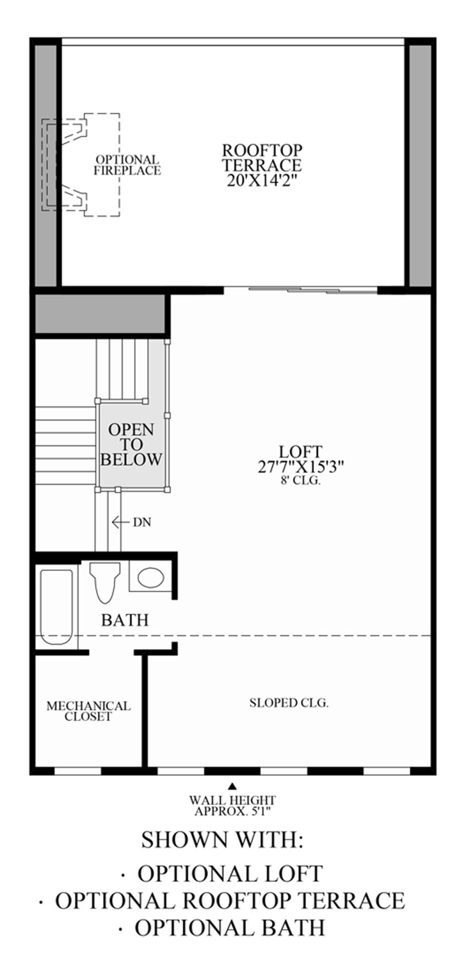 Optional Loft, Rooftop Terrace and Bath Floor Plan