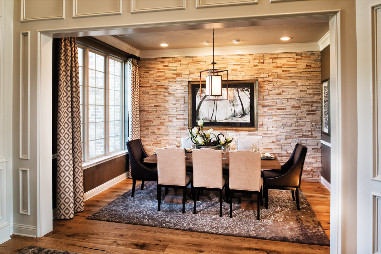 Bright dining room connects to kitchen