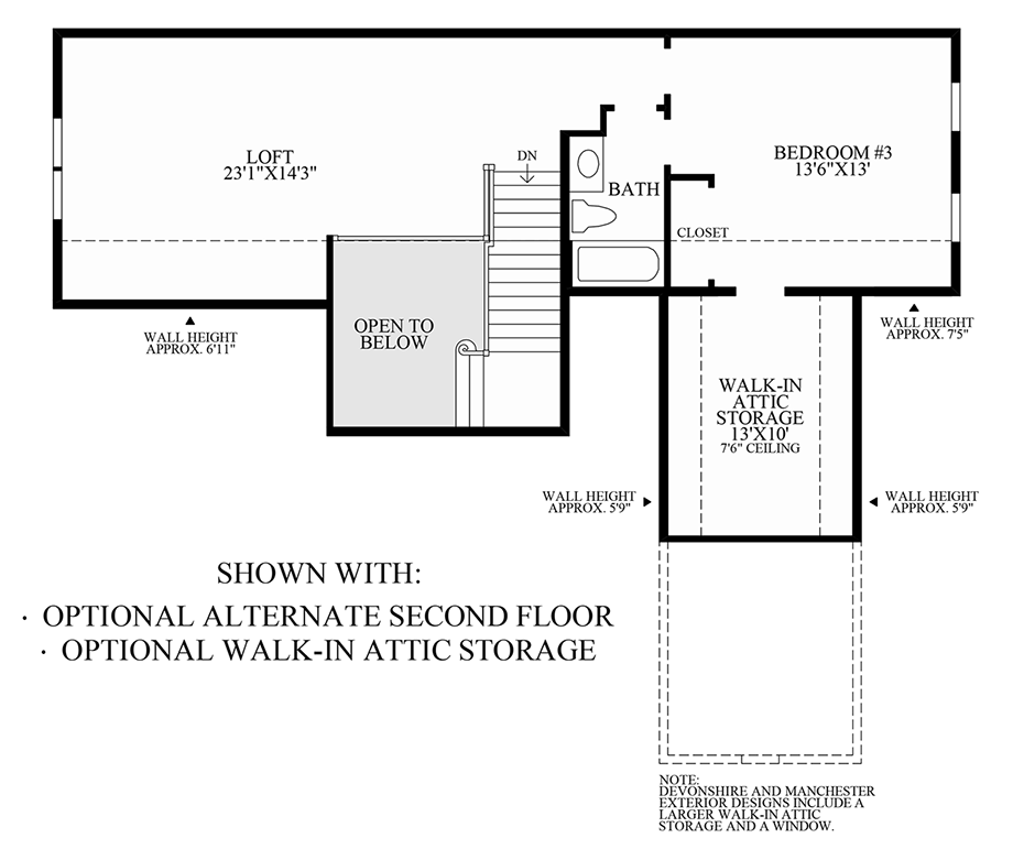 Optional Alternate Second Floor and Walk-In Attic Storage