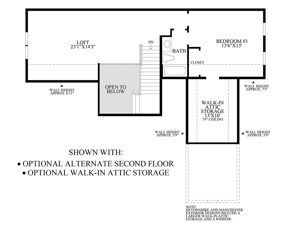 Optional Alternate Second Floor and Walk-In Attic Storage