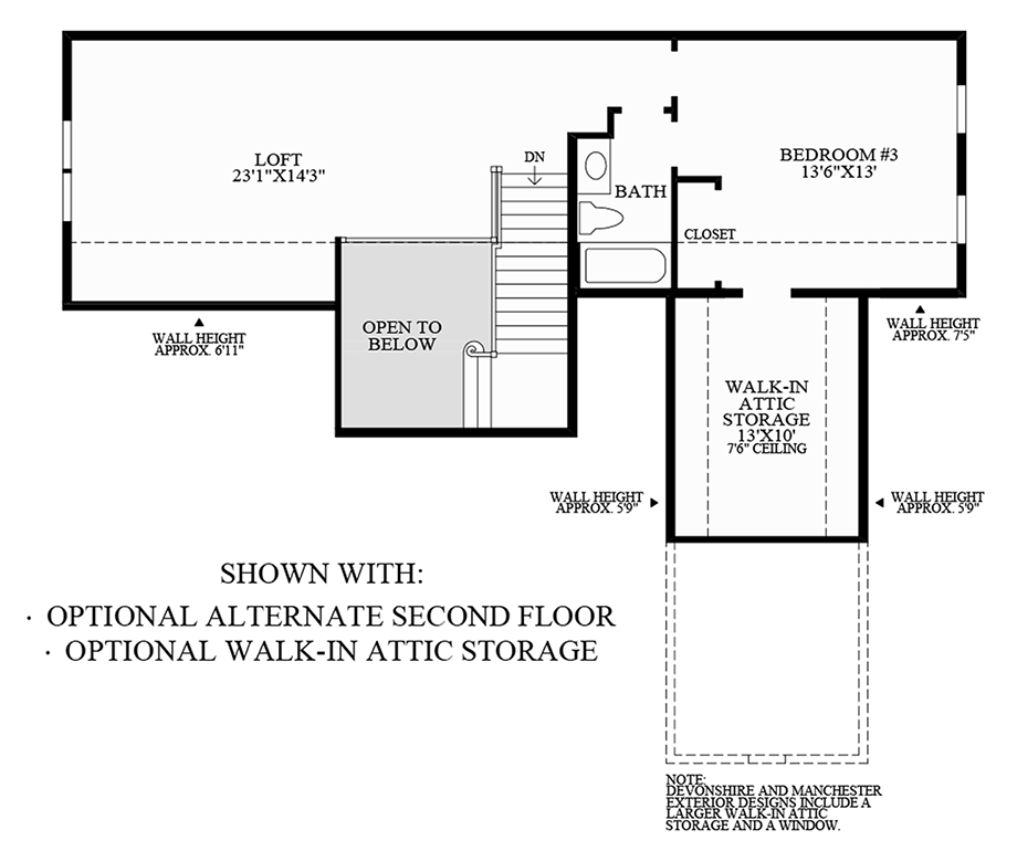 Optional Alternate Second Floor and Walk-In Attic Storage Floor Plan