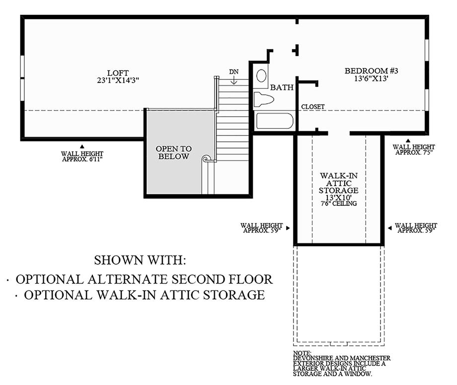 Optional Alternate Second Floor and Walk-In Attic Storage Floor Plan