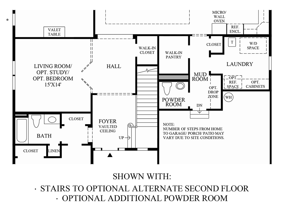 Stairs to Optional Alternate Second Floor and Additional Powder Room Floor Plan