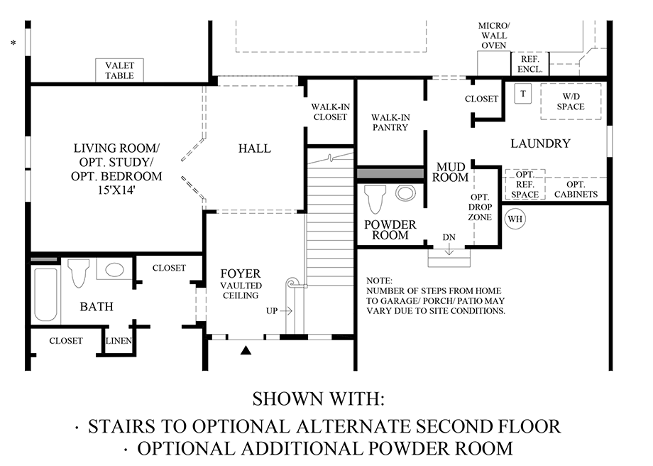 Stairs to Optional Alternate Second Floor and Additional Powder Room