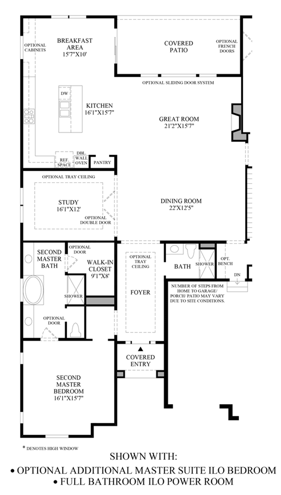 Optional Additional Master Suite ILO Bedroom & Full Bath ILO Powder Room Floor Plan