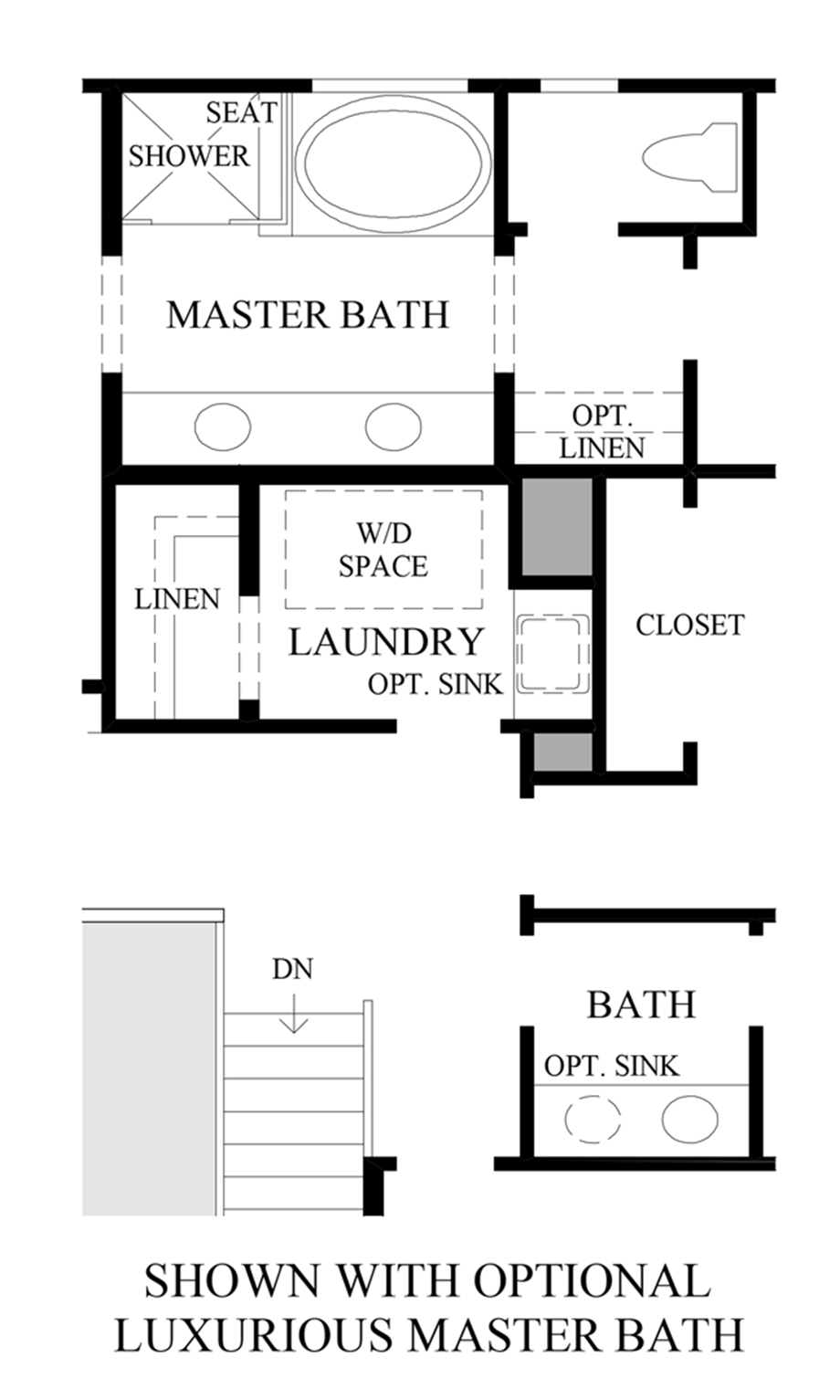 Optional Luxurious Master Bath Floor Plan