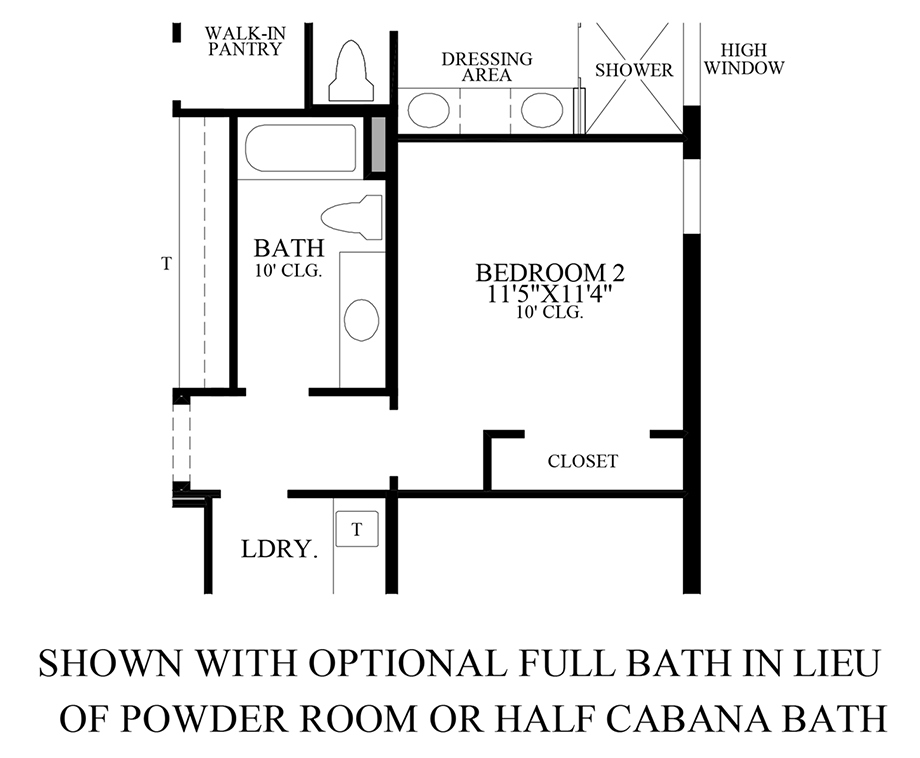 Optional Full Bath ILO Powder Room or Half Cabana Bath Floor Plan