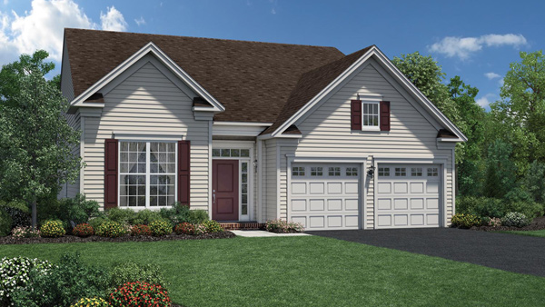 Image of the Binghampton home design with white siding located in the Regency at Monroe Community