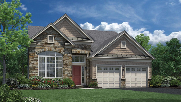 Image of the Binghampton home design with stone finish located in the Regency at Monroe Community