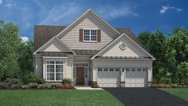 Image of the Binghampton home design with white siding and red shutters located in the Regency at Monroe Community