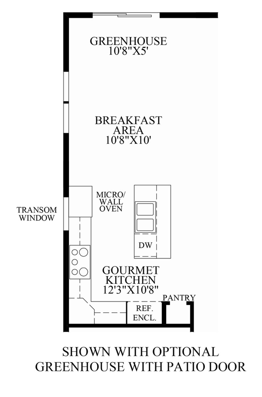 Optional Greenhouse with Patio Door Floor Plan