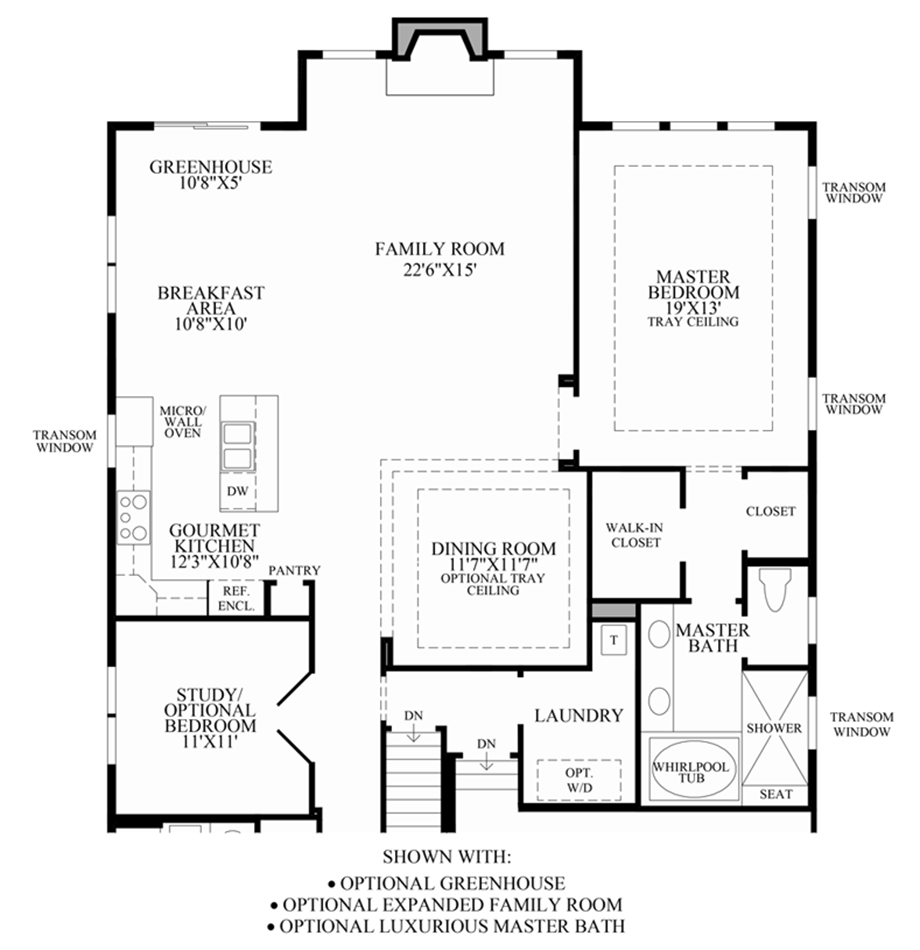 Optional Greenhouse/Expanded Family Room/Master Bath Floor Plan