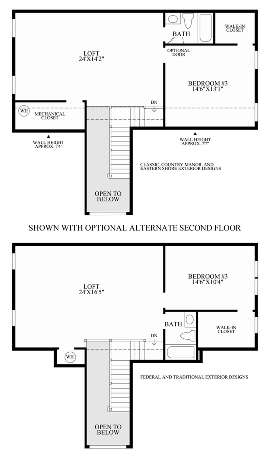 Optional 2nd Floors Floor Plan