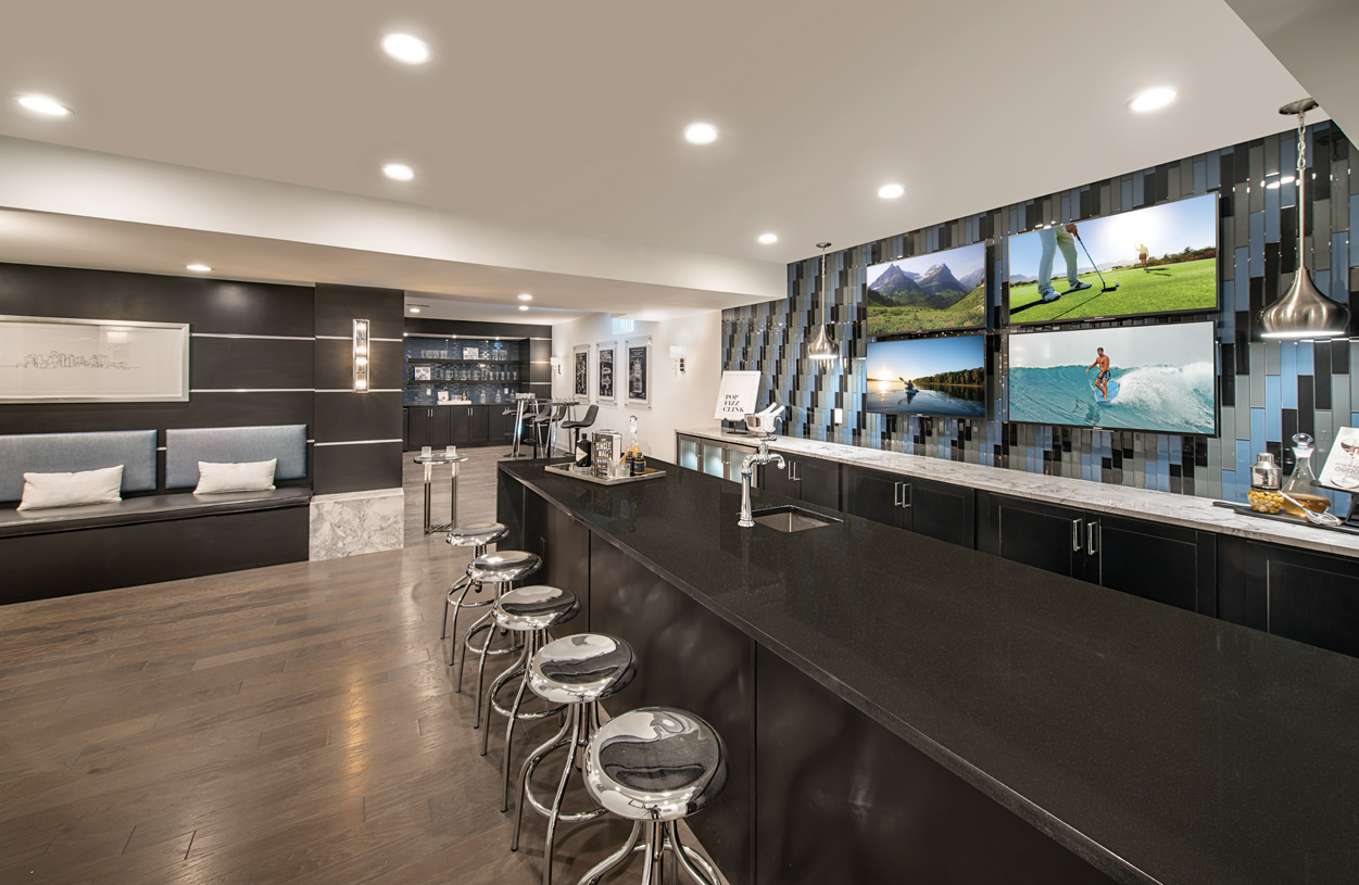 Finished basement with built-in bar - great for entertaining