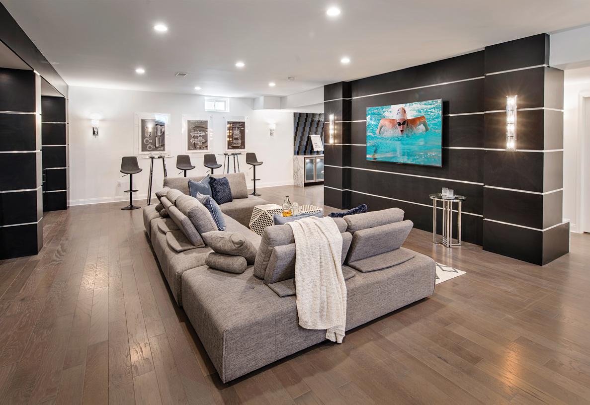 Finished basement with a movie theater feel