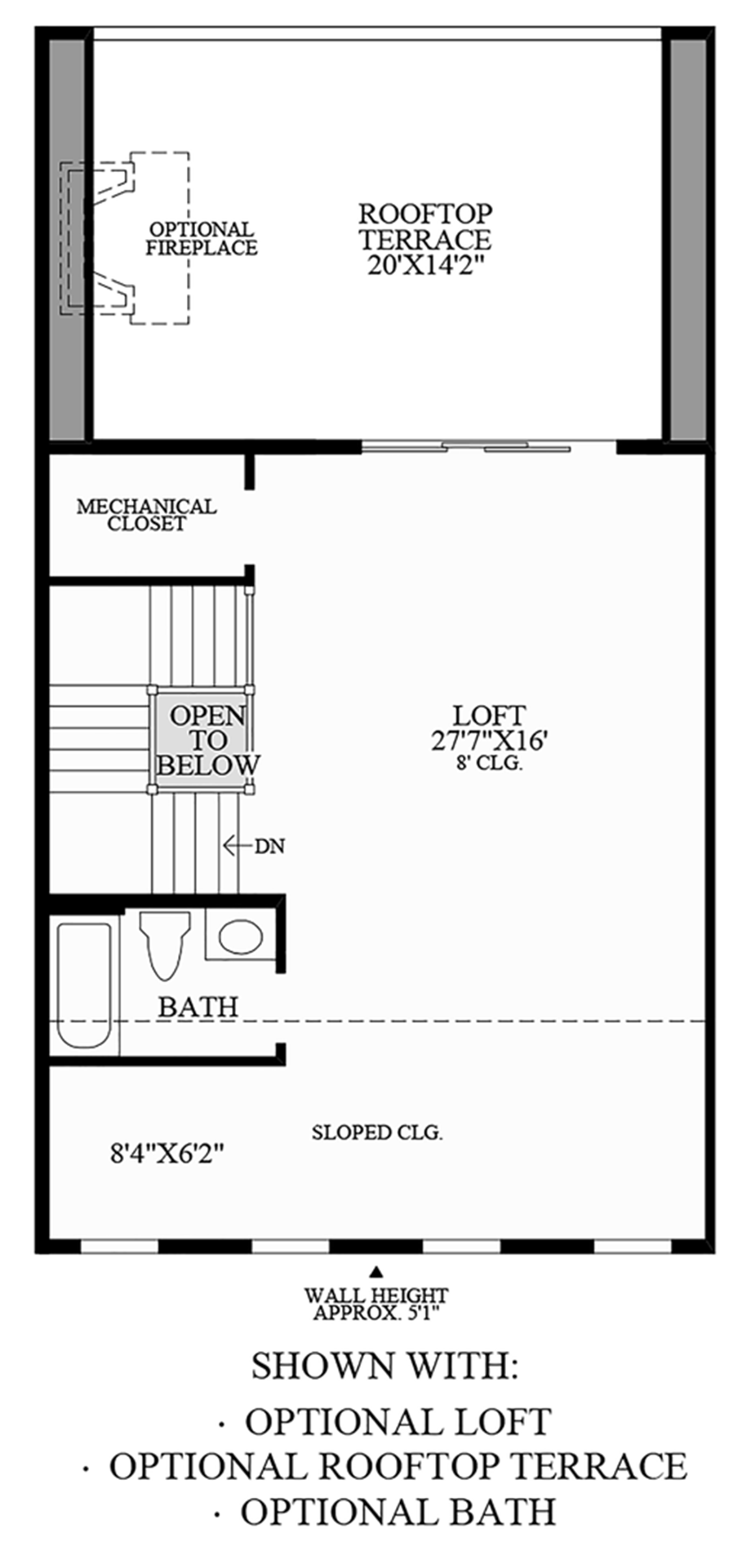 Optional Loft, Optional Rooftop Terrace, and Optional Bath Floor Plan