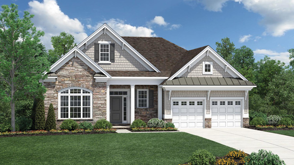Image of the Bowan home design with tan stone finish located in the Regency at Monroe Community