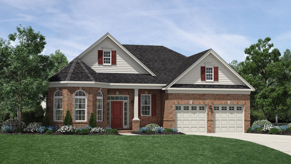 Image of the Bowan home design with white siding and brick finish located in the Regency at Monroe Community