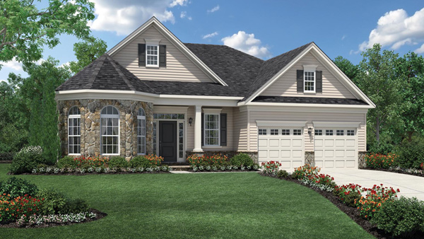 Image of the Bowan home design with white siding and stone finish located in the Regency at Monroe Community