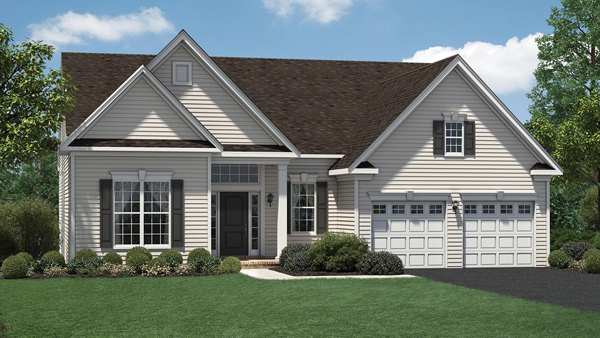 Image of the Bowan home design with full white siding located in the Regency at Monroe Community