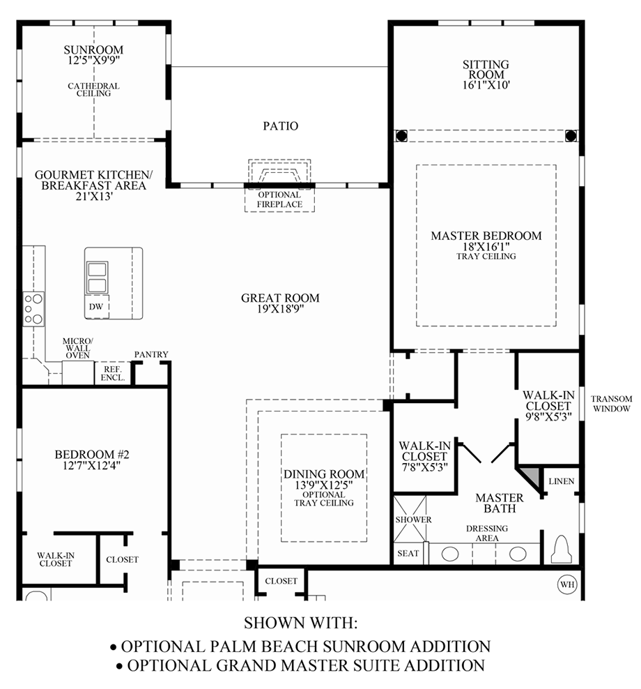 Optional Palm Beach Sunroom & Grand Master Suite Additions Floor Plan