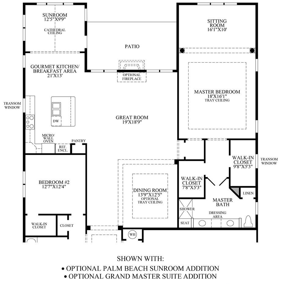 Optional Palm Beach Sunroom Addition/Grand Master Suite Addition Floor Plan