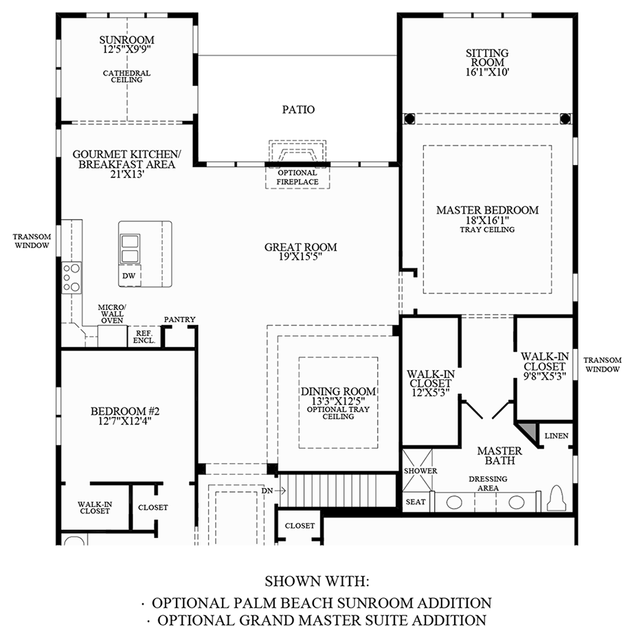 Optional Palm Beach Sunroom Addition and Grand Master Suite Addition Floor Plan