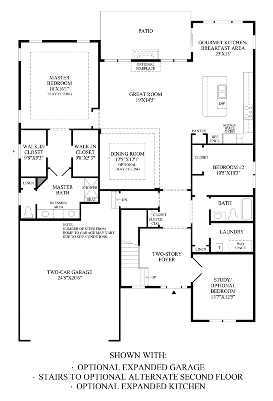 Optional Expanded Garage, Stairs to Alternate Second Floor & Expanded Kitchen