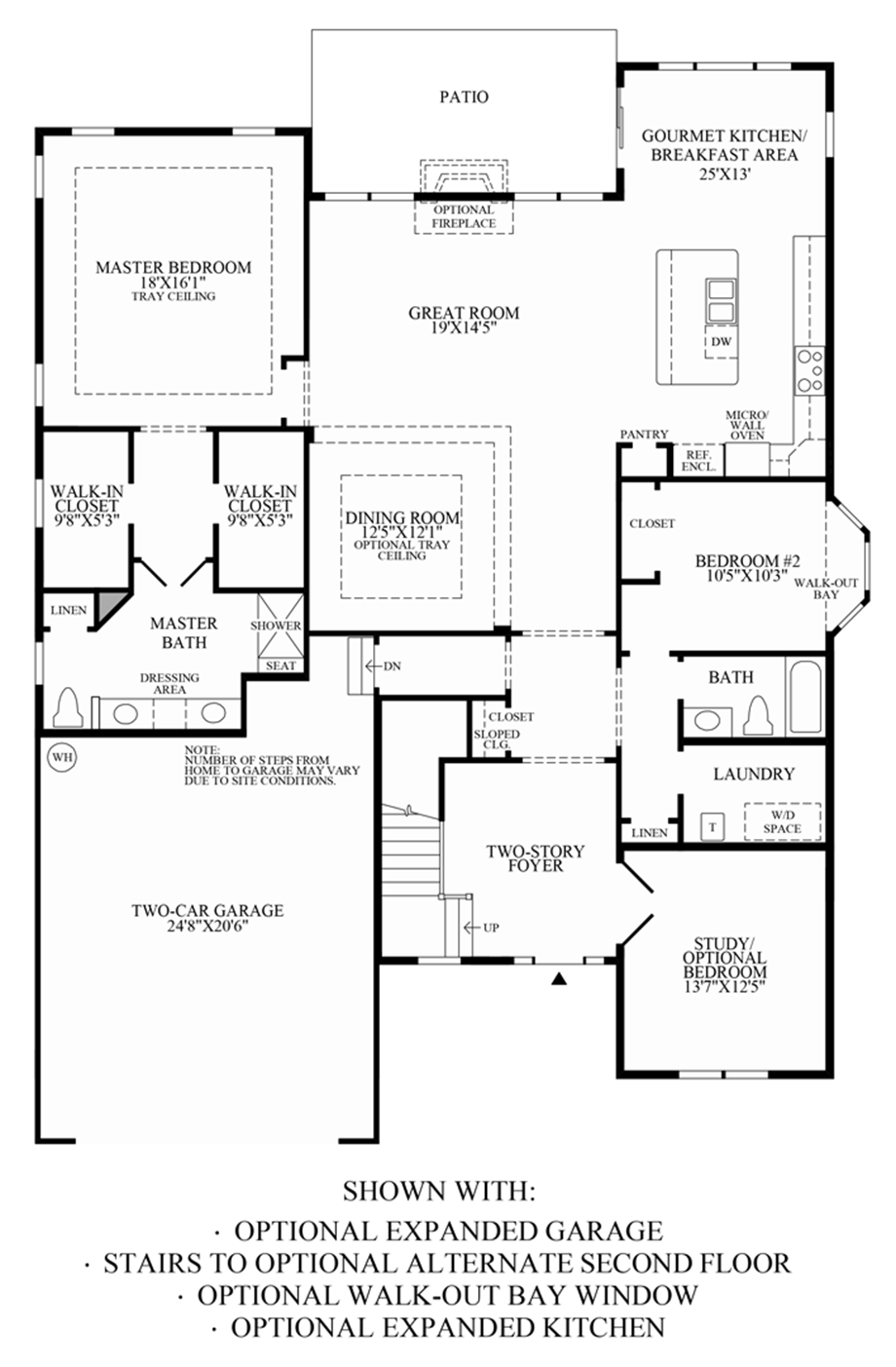 Optional Expanded Garage, Walk-Out Bay Window, Expanded Kitchen & Stairs to Alternate 2nd Floor Floor Plan