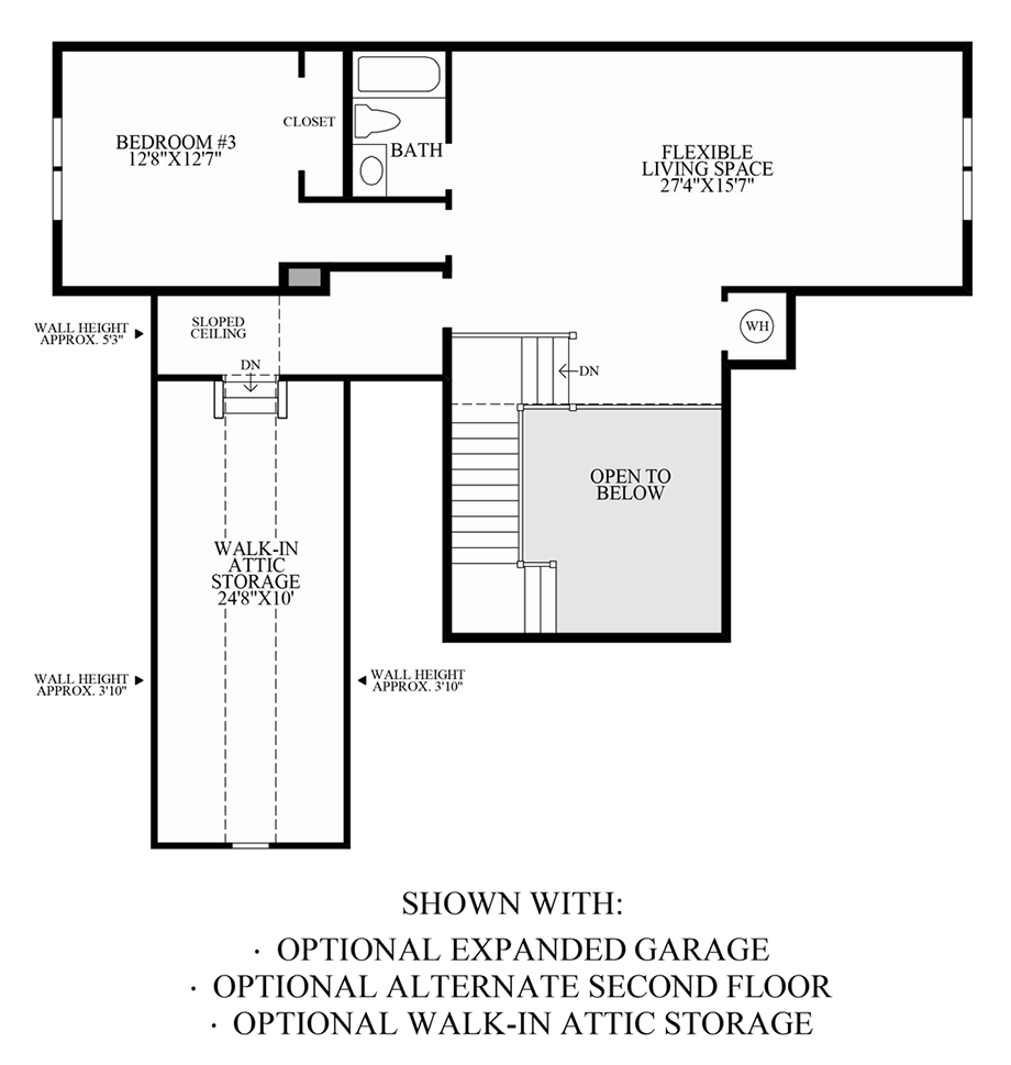 Optional Expanded Garage, Walk-In Attic Storage & Alternate 2nd Floor Floor Plan