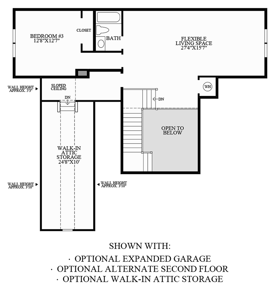 Optional Expanded Garage, Walk-In Attic Storage & Alternate 2nd Floor Floor Plan