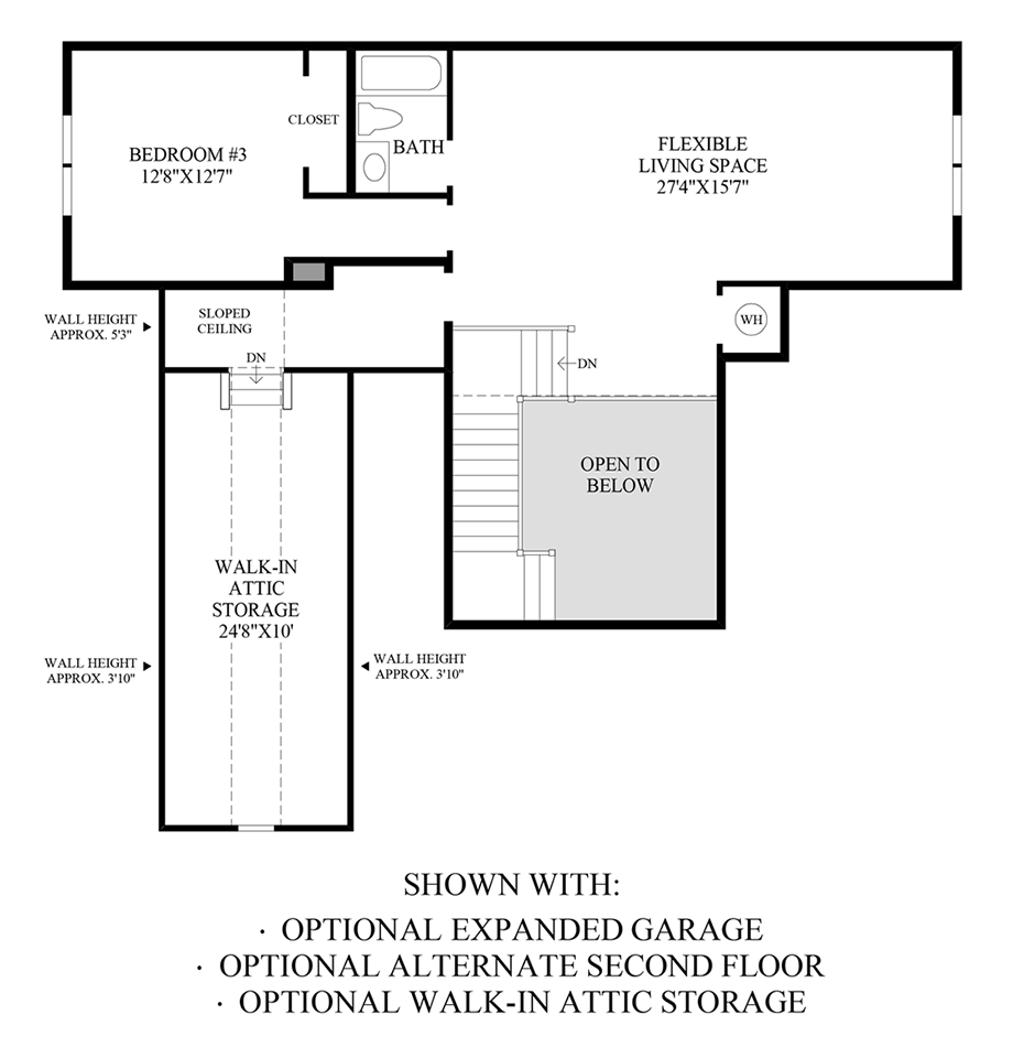 Optional Expanded Garage, Alternate 2nd Floor, & Walk-In Attic Storage