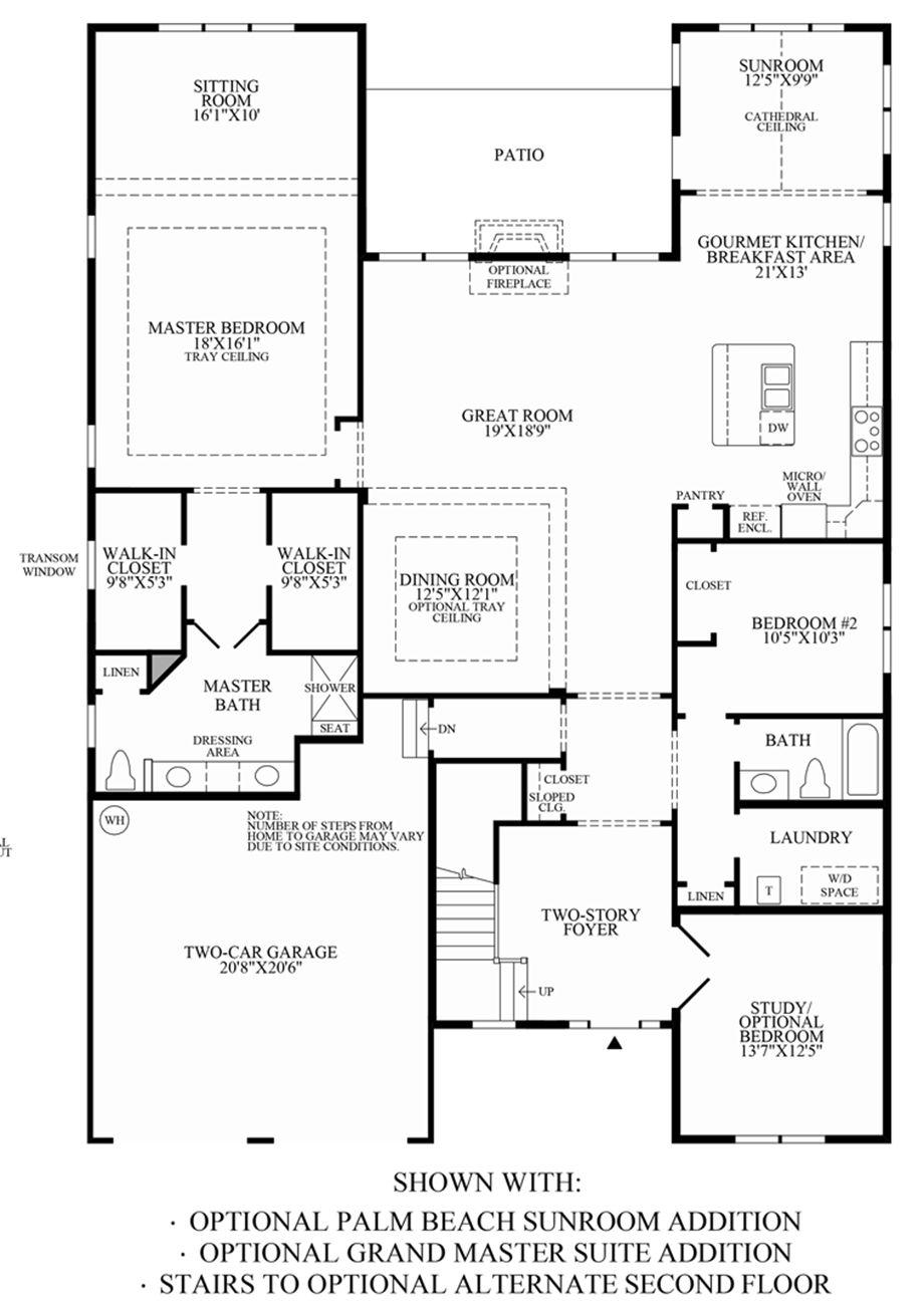 Optional Palm Beach Sunroom, Grand Master Suite & Stairs to Optional Alternate 2nd Floor Floor Plan