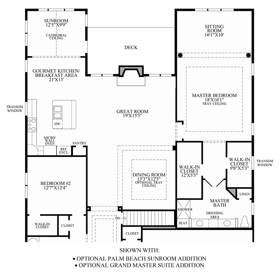 Optional Palm Beach Sunroom Addition & Grand Master Suite Addition Floor Plan