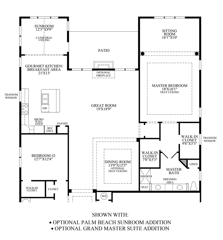 Optional Palm Beach Sunroom Addition/Grand Master Suite Addition Floor Plan