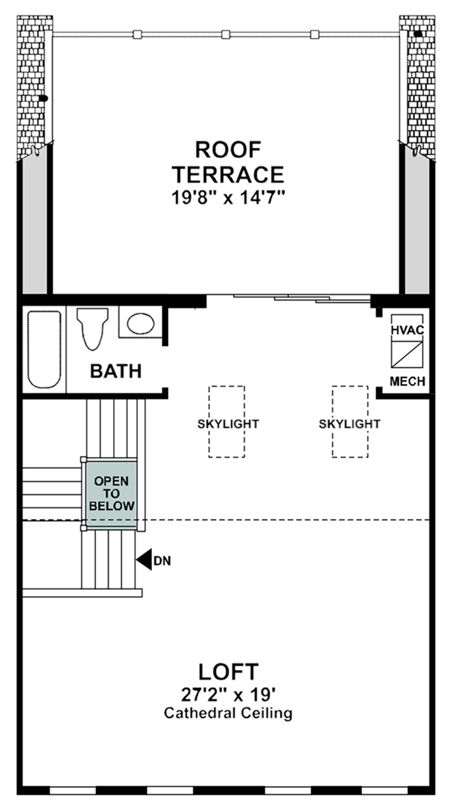 Optional Loft & Rooftop Terrace with Full Bath Floor Plan
