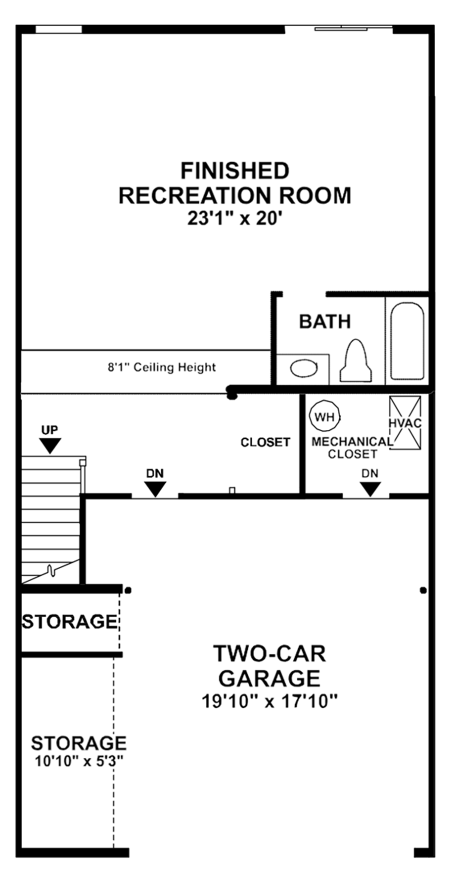 Optional Lower Level Full Bath and 4' Extension Floor Plan