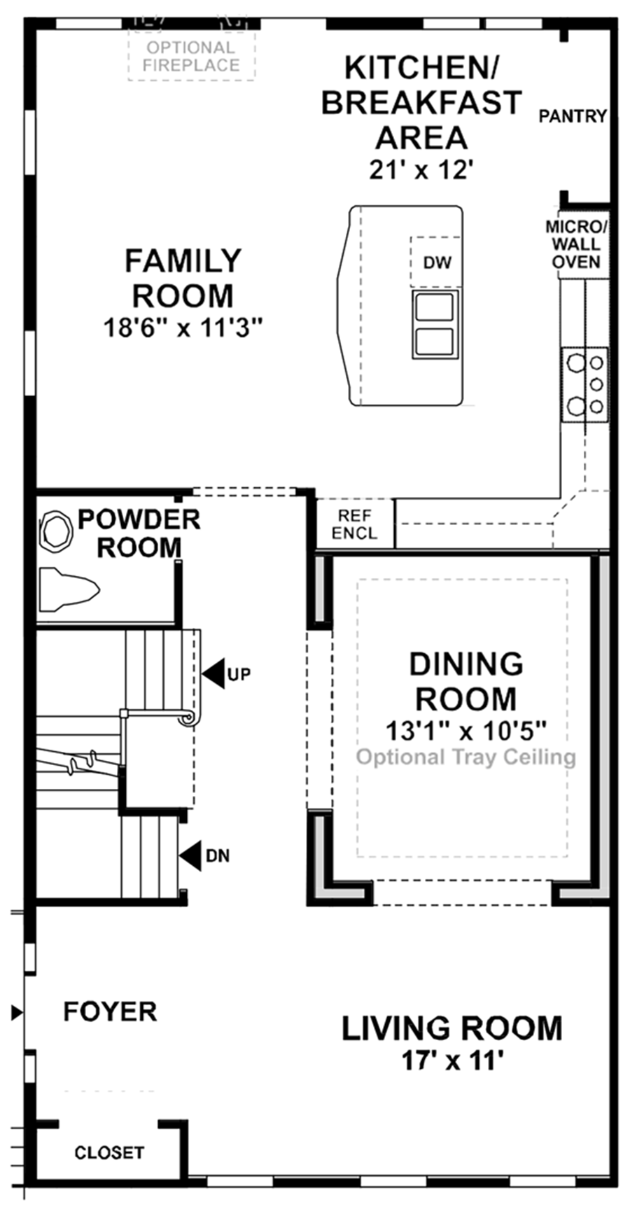 Optional Main Level 4' Extension Floor Plan