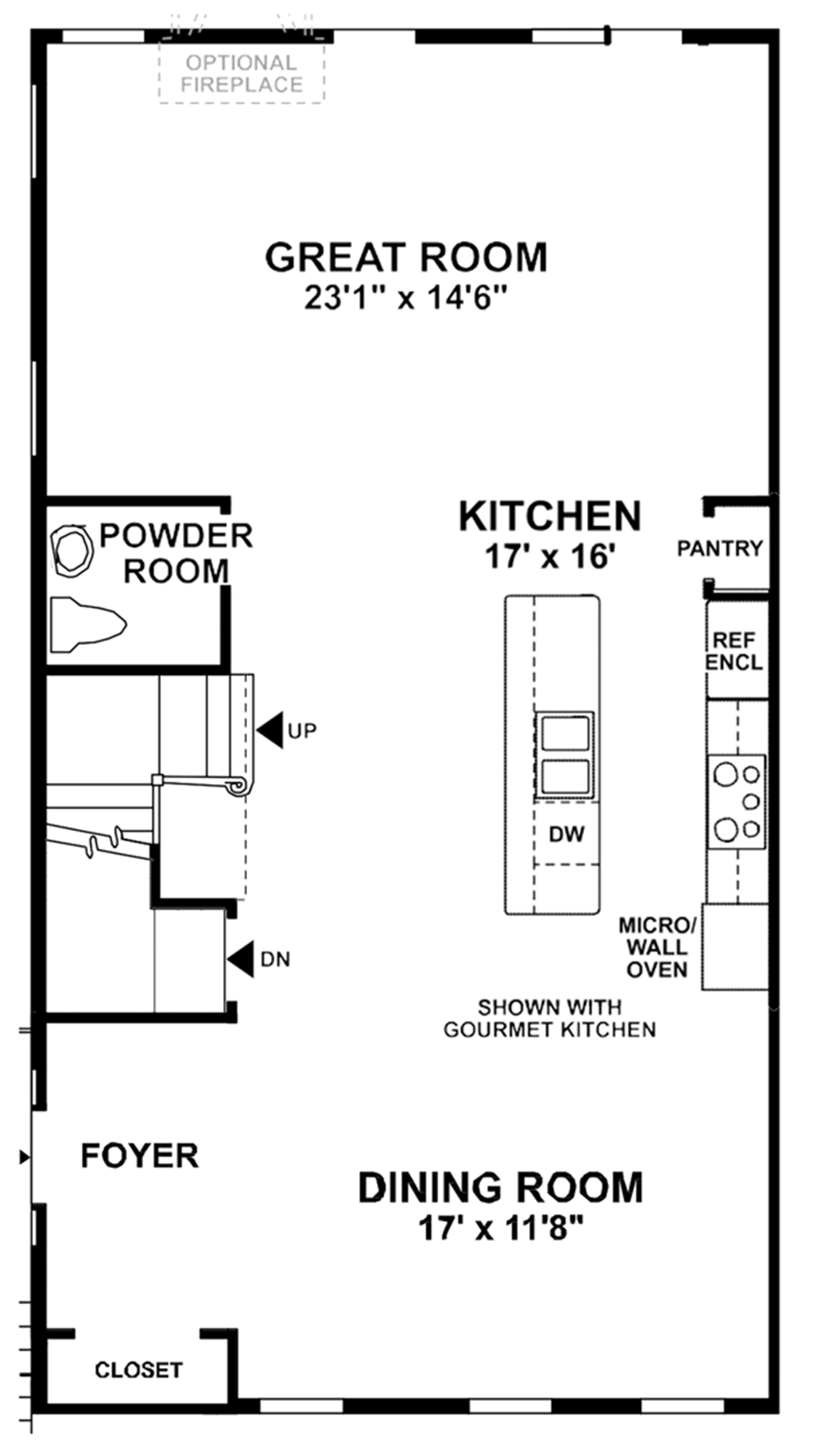 Optional Main Level Open Great Room Floor Plan