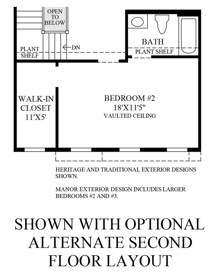 Optional Alternate 2nd Floor Layout Floor Plan